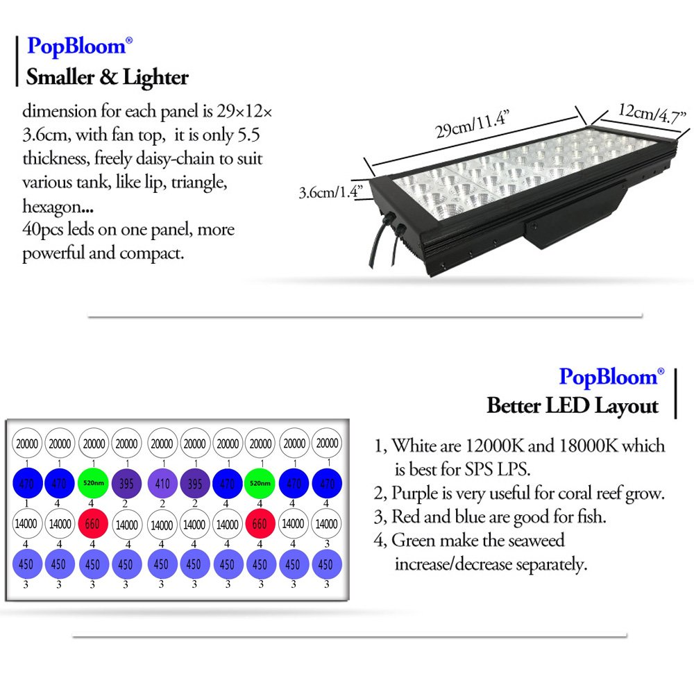 "PopBloom DSunY 120W-480W Smart Marine Light 24""-72"" Aquarium Tank, New LED Layout, Black Color, Coral Reef Saltwater Lamp Programmable Timer"