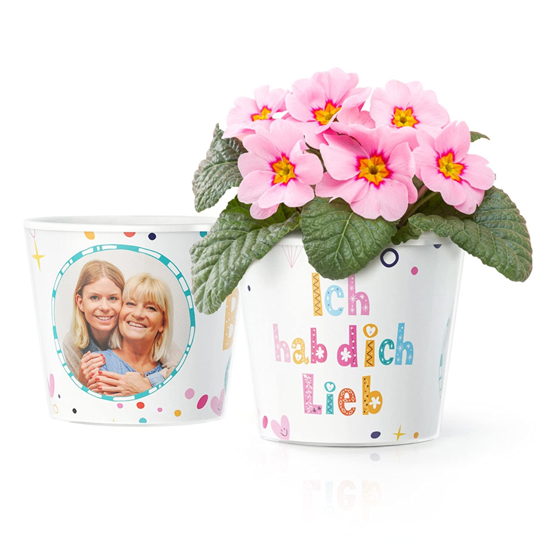 Ich hab Dich lieb Geschenk - Blumentopf (ø16cm) für Mama, Oma, Uroma ...