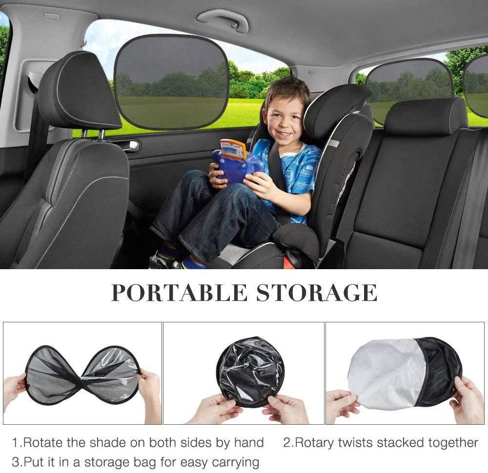 Umiwe Car Window Sun Shades,4 Pcs Universal Baby Car Sunshades for Blocks Harmful UV Rays Sun Glare Heat 47 x 36 cm with 2 Self-Suction Cups Pets Protection for Your Kids