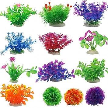 Decoración para acuario de peces, decoración de acuario, varios colores, decoración de plantas de plástico para acuario, plantas subacuáticas realistas: ...