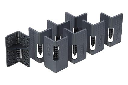 Wolfcraft 5544000 Juego de 8 Abrazaderas para Esquinas apilables, Negro, Set de 8 Piezas