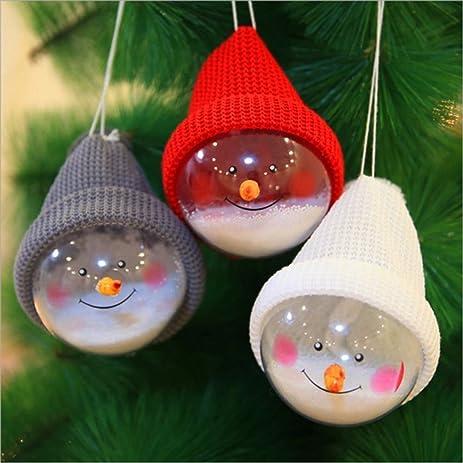 3 Pcs Christmas Decorations Santa Snowman Transparent Tree Ball Plastic Balls Ornament Children