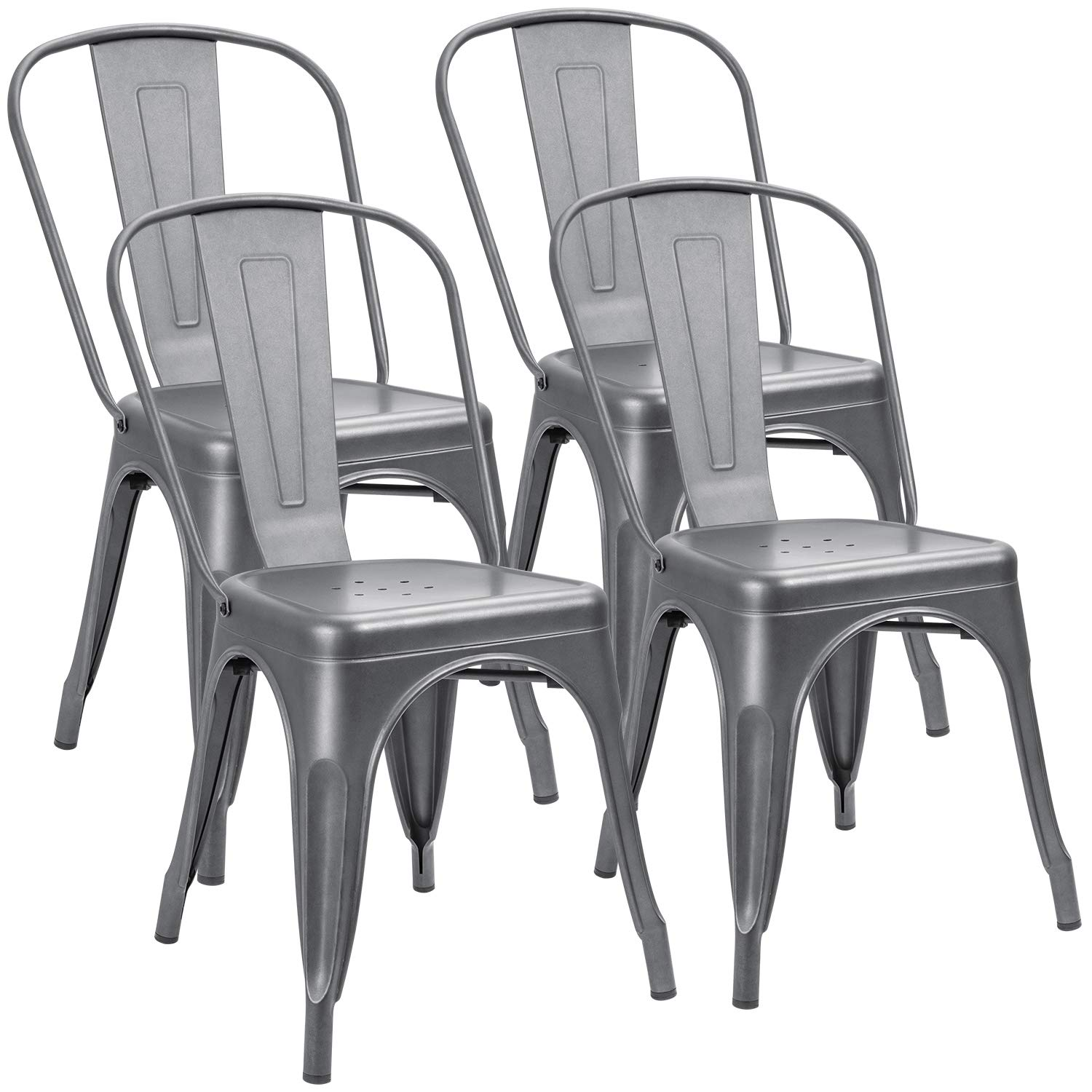 Furniwell Metal Dining Chairs Indoor-Outdoor Use Stackable Kitchen Chair Trattoria Side Chic Dining Bistro Cafe Chairs with Back Set of 4 (Gray)