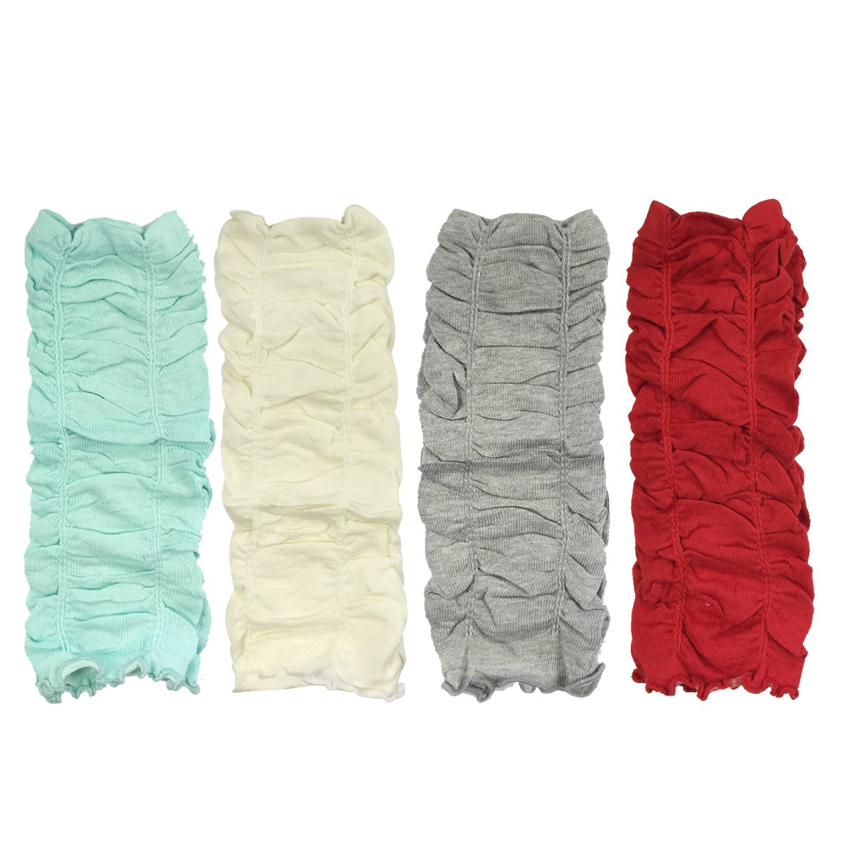 AllyDrew Gathered Ruching Baby Leg Warmers (Set of 4), Baby Blue, White Gray, Red
