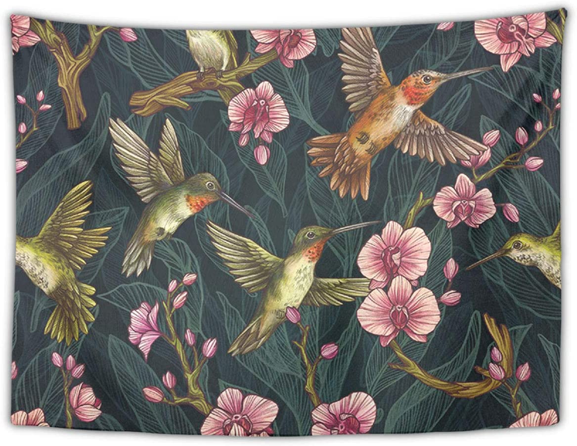 NiYoung Great Gift – Wall Blanket Wall Art – Humming Bird Tropical Tapestry Wall Tapestry Wall Art Decoration Home Decor for Bedroom, Dorm, College, Living Room 60 X 90