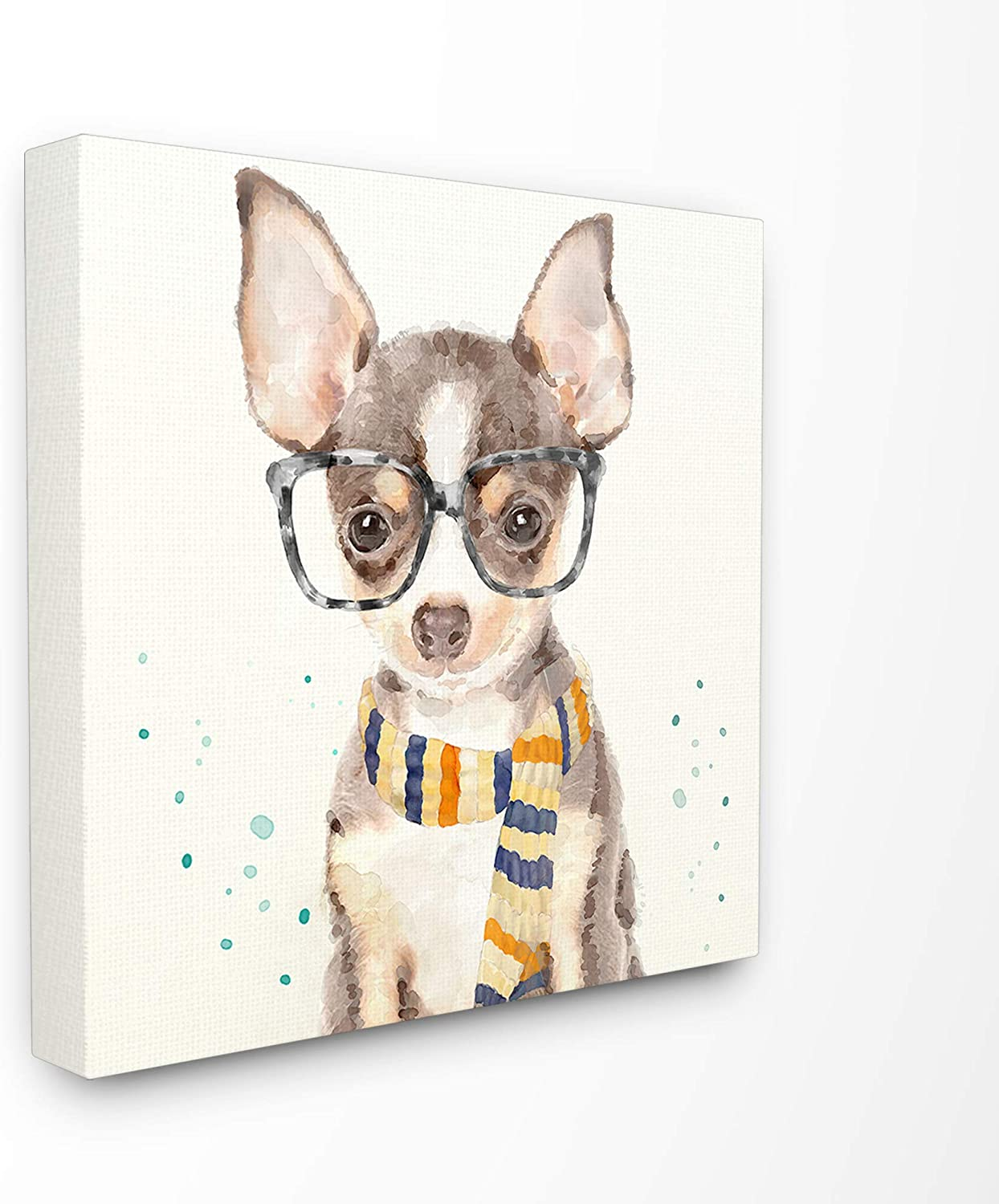 The Stupell Home Décor Collection Hipster Chihuahua Puppy with Glasses and Scarf Watercolor Stretched Canvas Wall Art, 17 x 17, Multi-Color