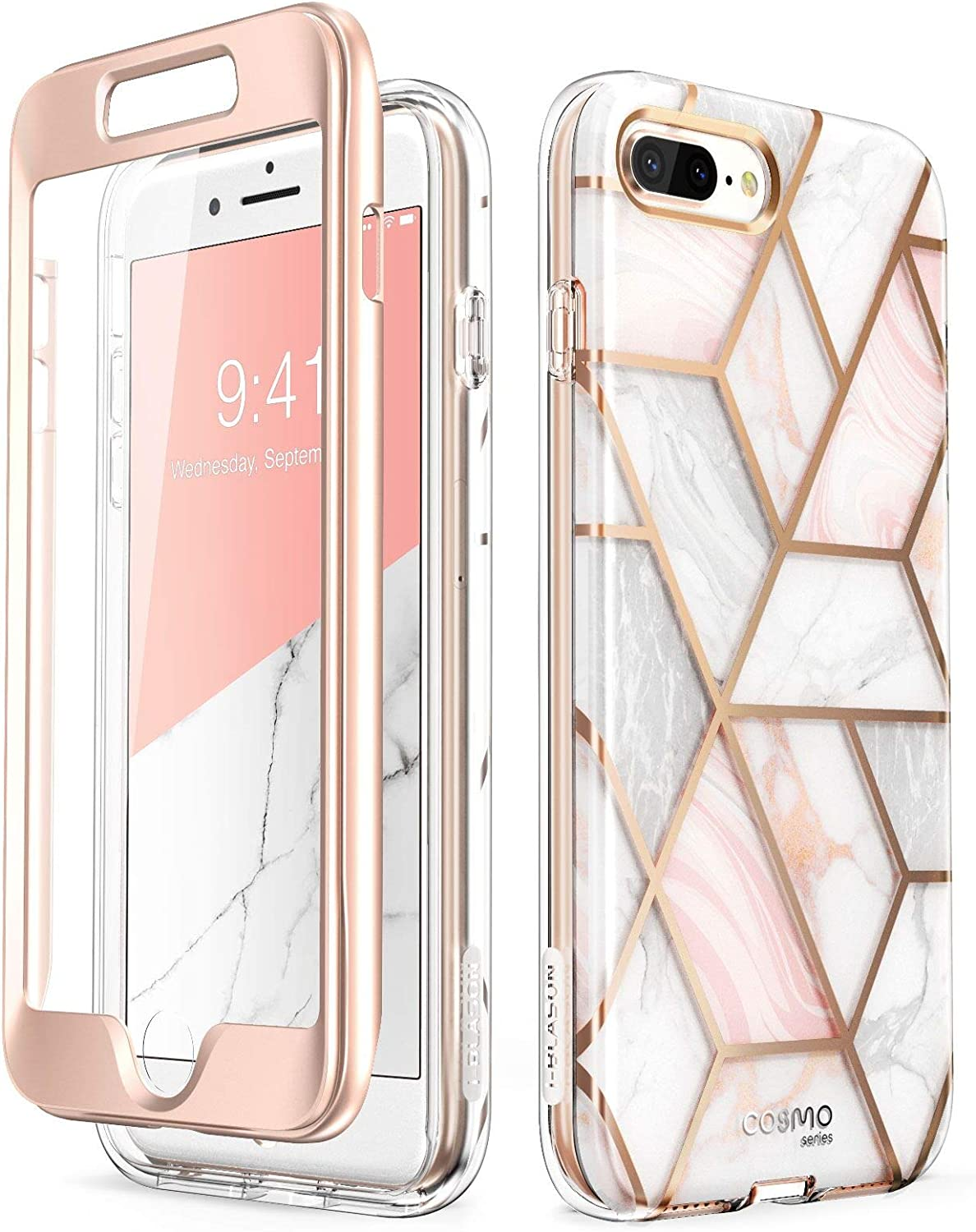 Amazon Com I Blason Cosmo Glitter Clear Bumper Case For Iphone 8 Plus Iphone 7 Plus Marble