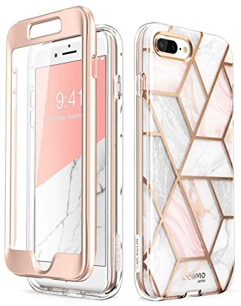 i-Blason Cosmo Glitter Clear Bumper Case for iPhone 8 Plus/iPhone 7 Plus, Marble