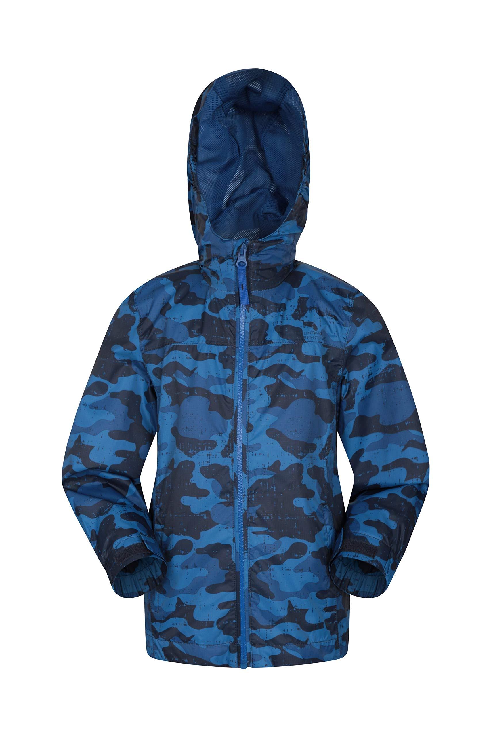 Mountain Warehouse Torrent Kids Printed Waterproof Rain Jacket Navy 5-6 Years