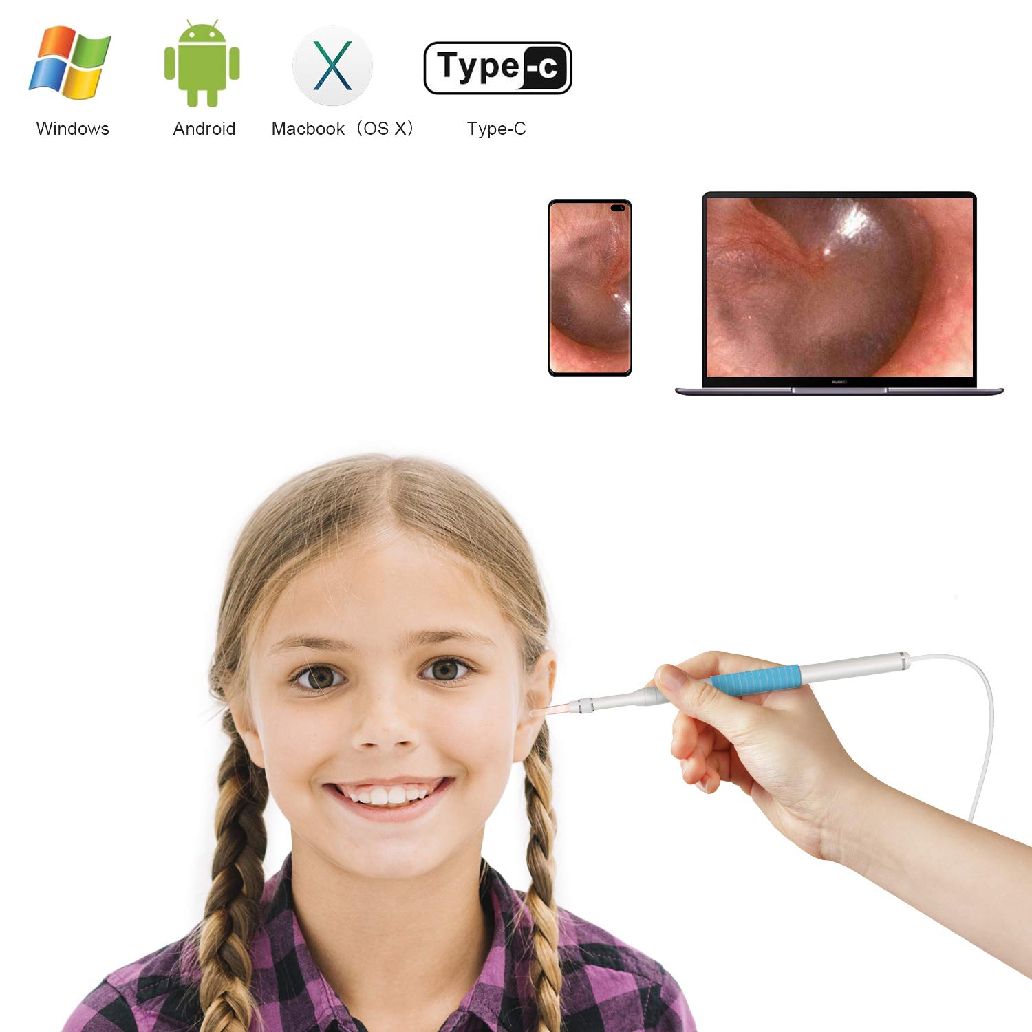 Ear Otoscope | HD Visual Ear Cleaner Ear Scope Endoscope Camera Earwax Remover with 6 LED Lights | for Adult Children Kids Veterinary | Android Smartphones, Windows, MAC PC Computer | Avalon Home by Avalon Home