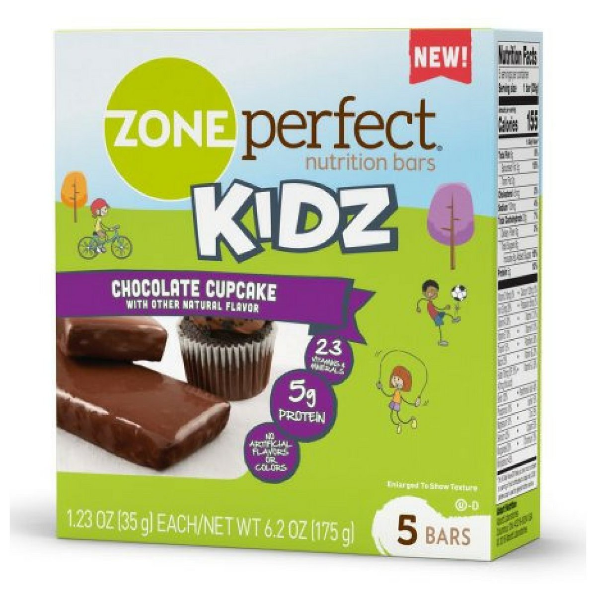 Zone Perfect Kids Chocolate Cupcake Nutrition Bars 1.23ozx 5 bars(total 6.15oz) by Zone Perfect