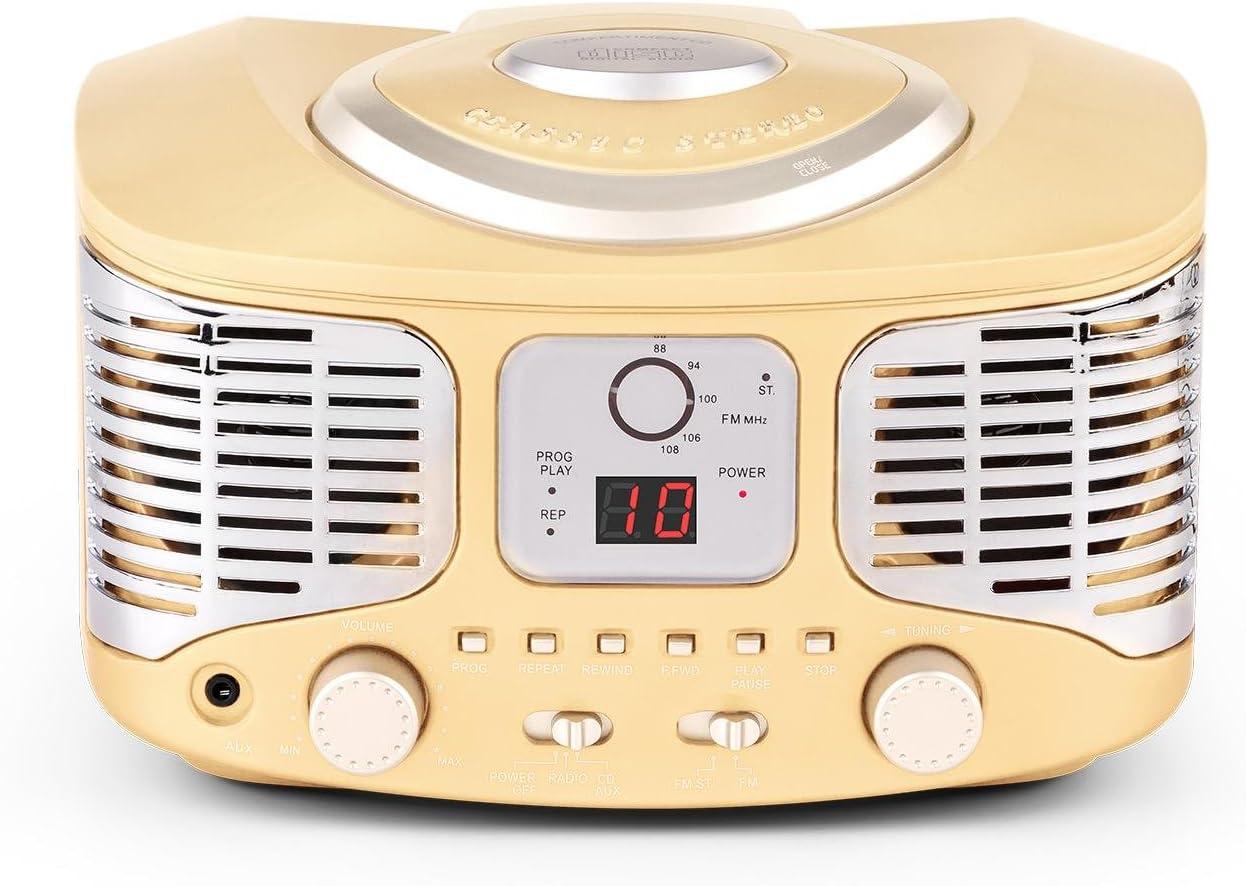 Auna RCD320 Beige Edition - Equipo de música, Radio CD, Altavoces estéreo, Sintonizador de Radio FM, Entrada AUX, Display Digital, Reproducción programable, Estilo Retro, Beige
