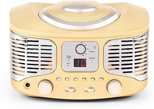 Auna RCD320 Beige Edition - Equipo de música, Radio CD, Altavoces estéreo, Sintonizador de Radio FM, Entrada AUX, Display Digital, Reproducción ...