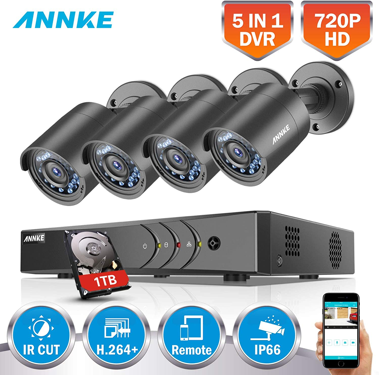 Motion Detect Smart Recording USB Backup ANNKE CCTV Camera System 8+2CH 1080P Lite HD TVI 5-IN-1 DVR Kit w// 1TB Surveillance HDD and 4x 1080P Weatherproof Bullet Cameras