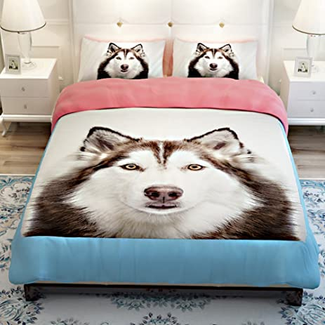 MeMoreCool 3D Creative Design Super Cute Pet Dog Bedding Set Huskies  Printing Duvet Cover Boys And