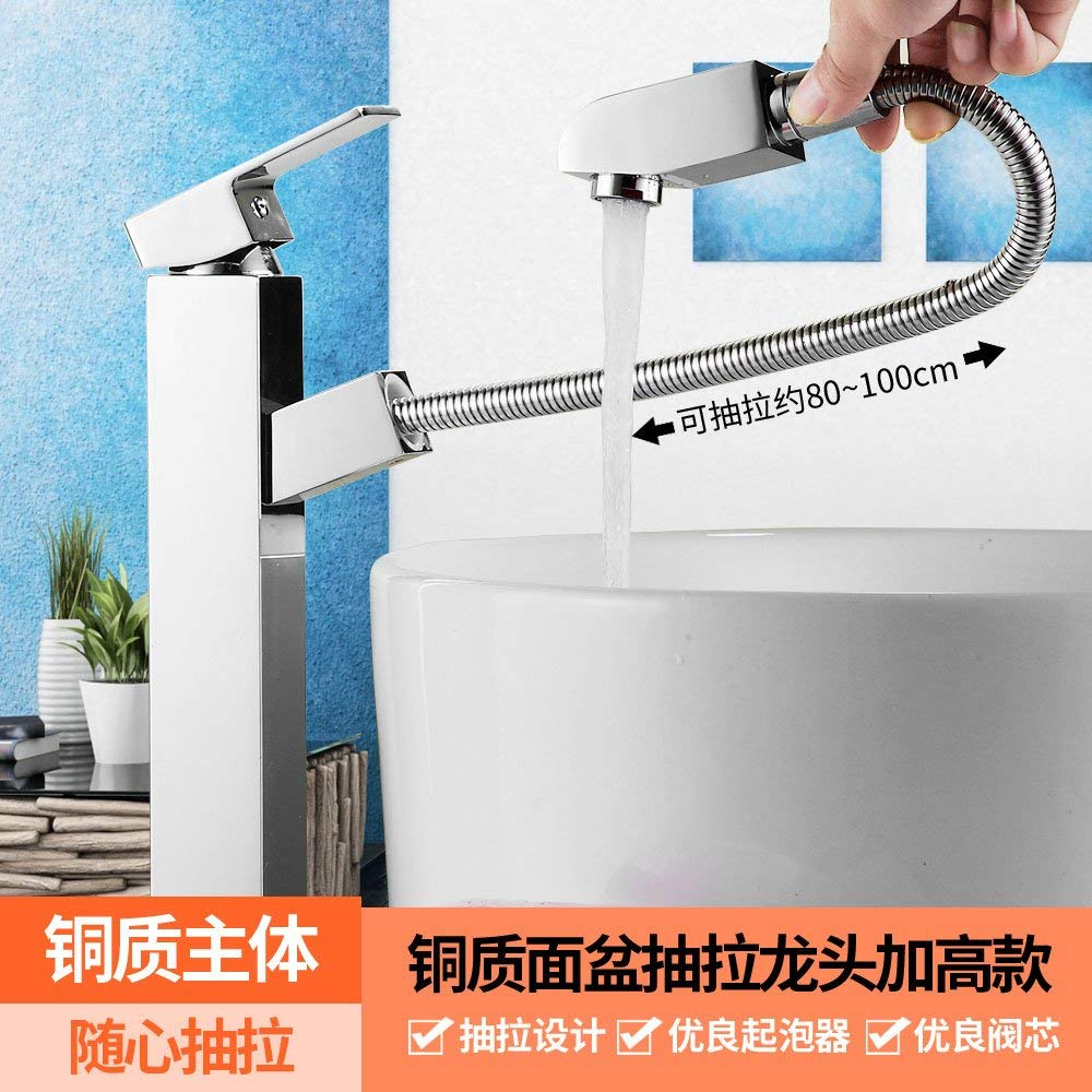 2 Oudan Pull on the basin of the basin of cold water faucet brass body-wide single hole wash-hand basin pool faucet shampoo scalable, standard square pull-down Faucet (color   2)