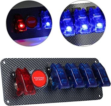 New 12V Car Offroad Panel Ignition Switch /& 4 Blue /& 1 Red LED Toggle Button Kit