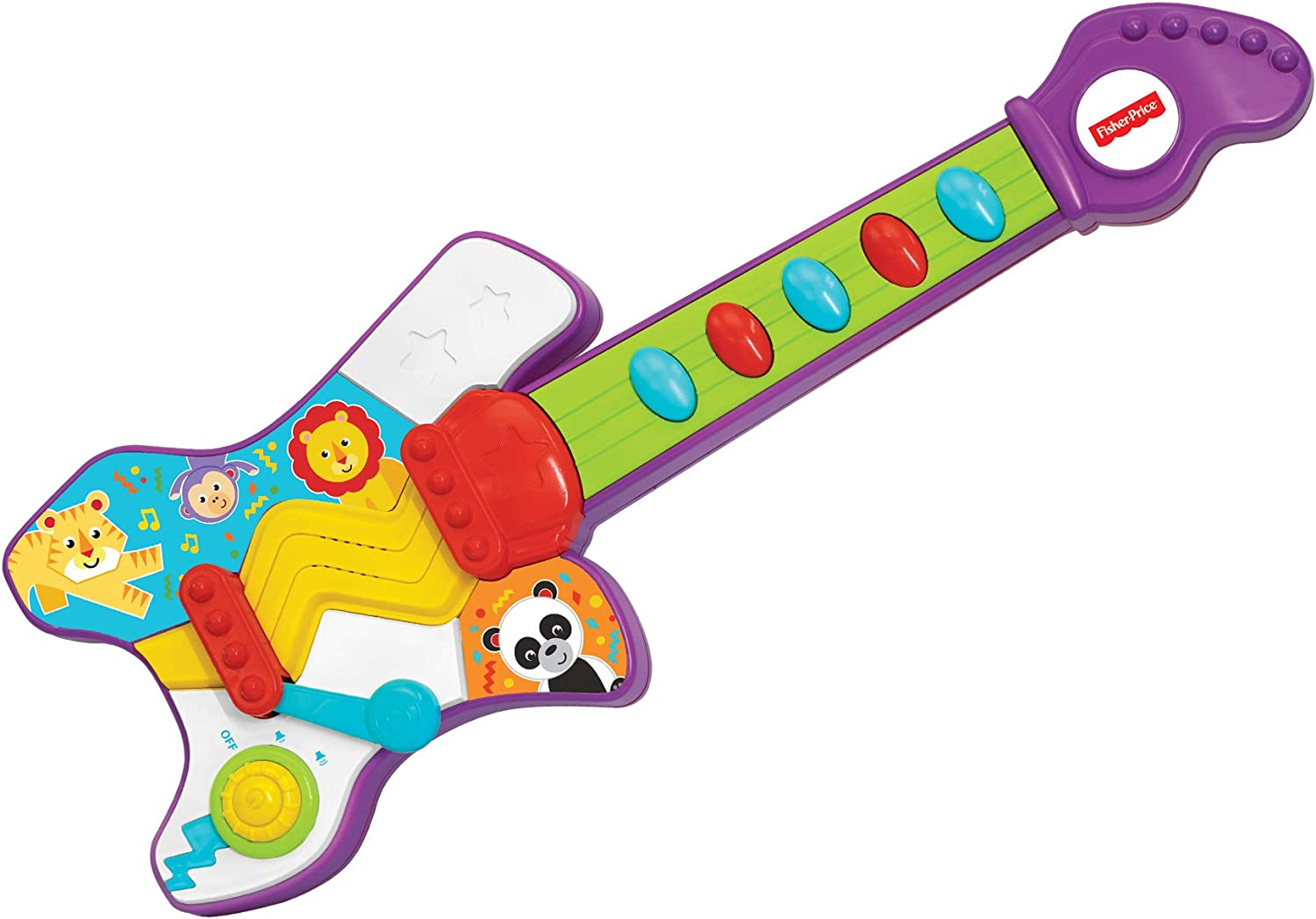 Fisher-Price – Jump 'N' Jam Guitar, Realistic Electronic Musical Toy, Developmental Musical Instrument, Educational Toy, Learn to Play Guitar, Toddler, Ages 2+