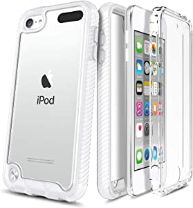 E-Began Case for iPod Touch 7, iPod Touch 5/6, Full-Body Protective Shockproof Rugged Bumper Cover, Transparent Clear Back, Impact Resist Durable Case for iPod Touch 7th/6th/5th Generation -Matte