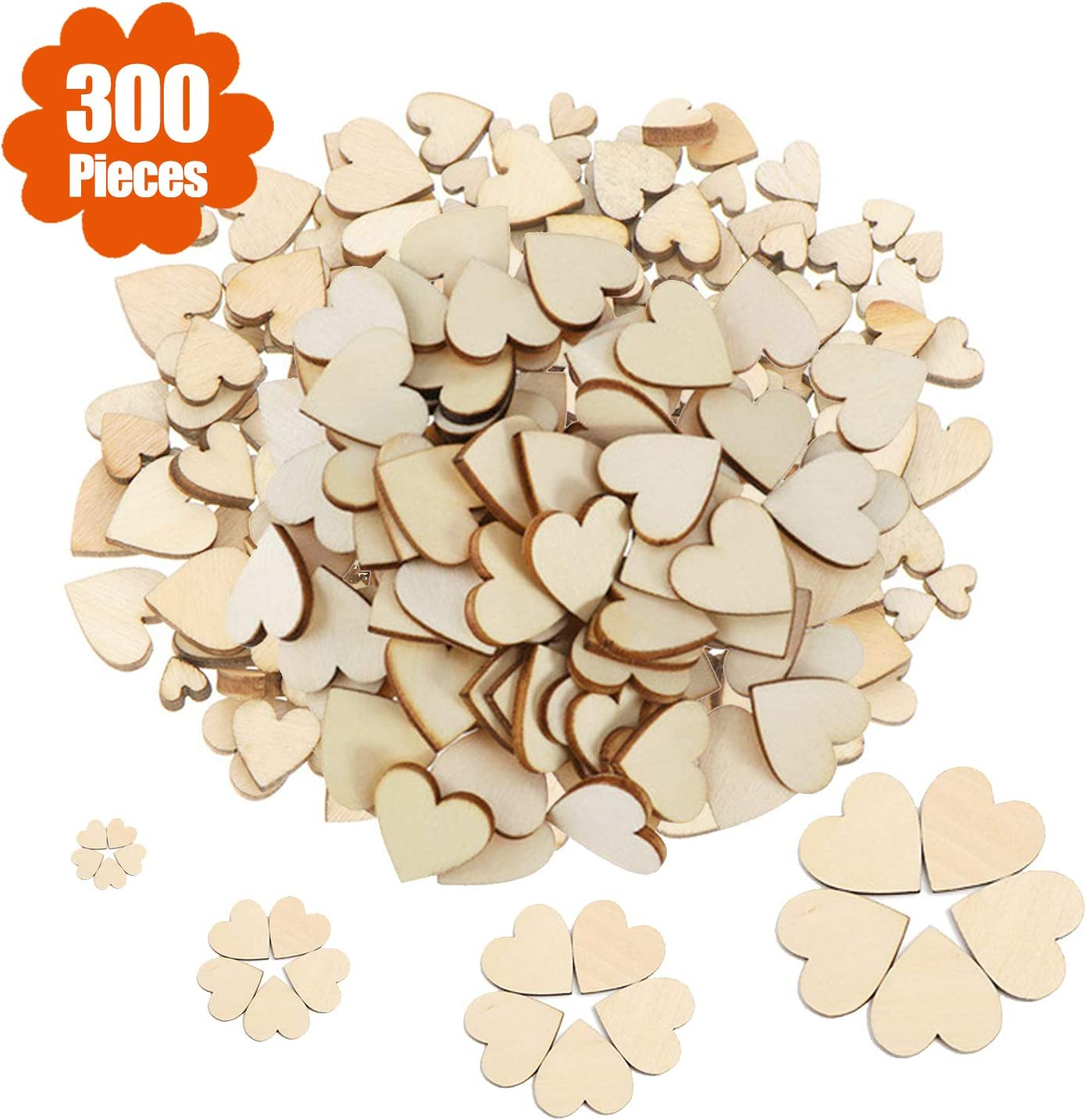 4cm Wooden MDF Hearts Shapes Craft Embellishments Decoration Christmas Party