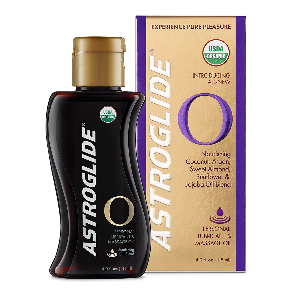 Astroglide O - Organic Oil-Based Personal Lubricant & Sensual Massage Oil - Experience Pure Pleasure - Ultra-Hydrating Natural Lubricant with Ylang Ylang Essential Oils, Coconut Oil, and More! 4.0OZ