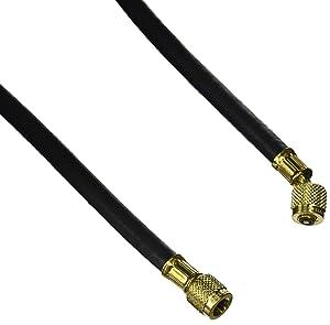 "Yellow Jacket 15060 Plus II 1/4"" Heavy Duty HCA Straight x Angle Charging Hose, 60"", Black"