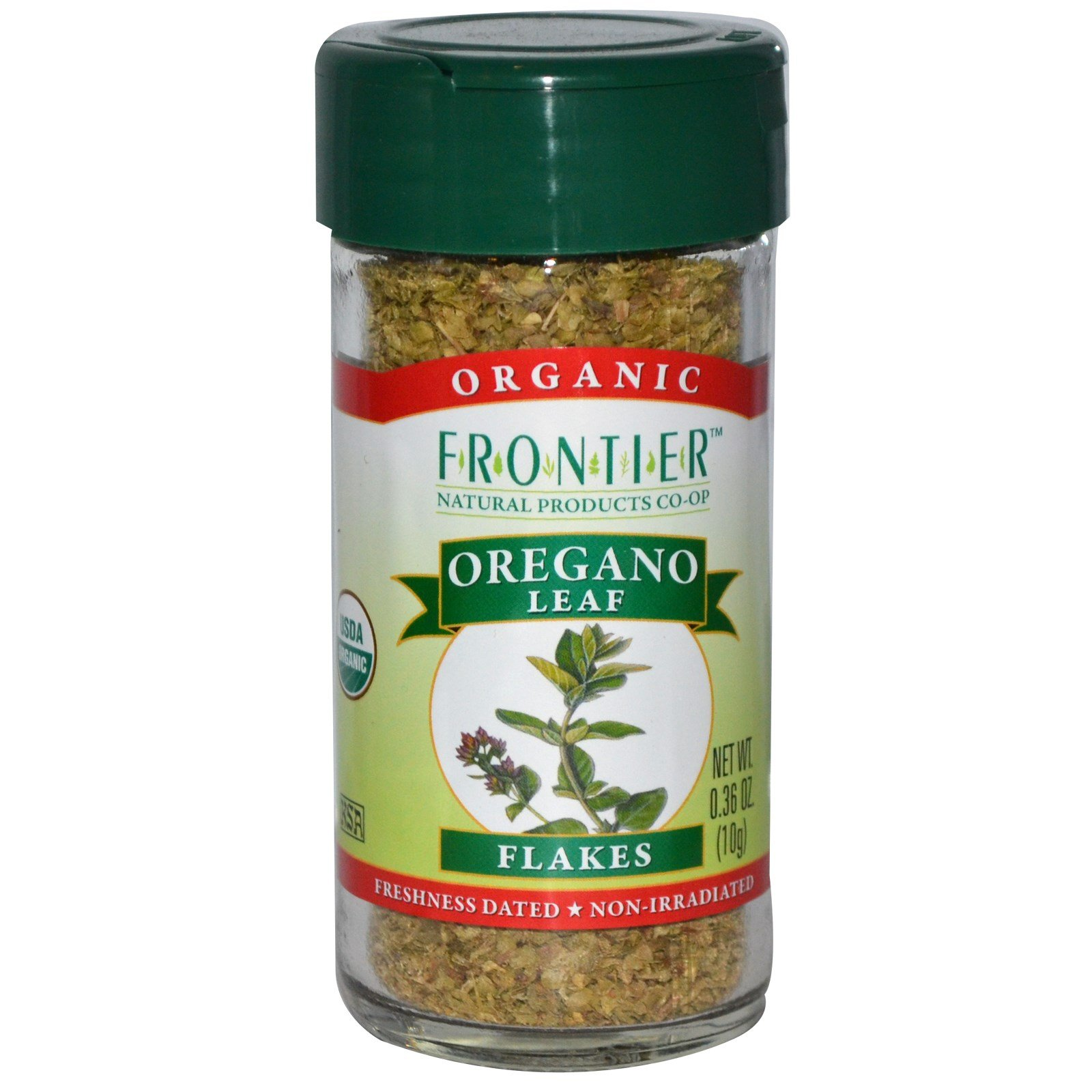 Frontier Natural Products, Organic Oregano Leaf Flakes, 0.36 oz (10 g) - 2pcs