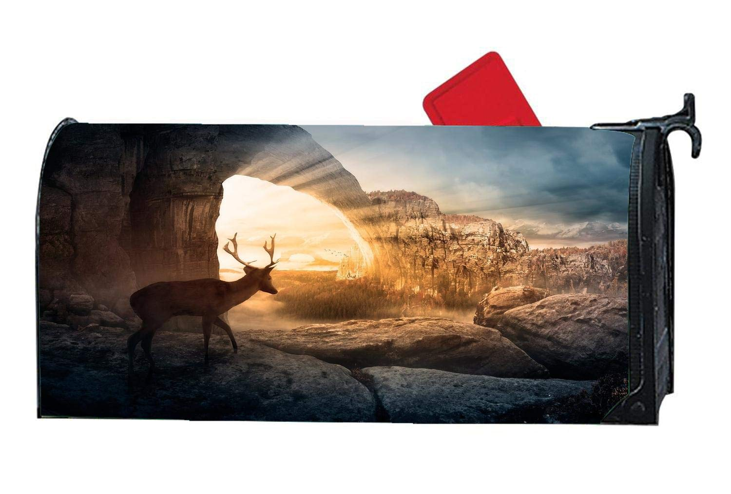 Personalized Decorative Magnetic Mailbox Cover Vinyl Standard Mailbox Wrap with Reindeer Deer Design 6.5'' x 19'' - Autumn Deer Hunting Sunlight