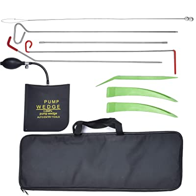 AMOSTBY Full Professional Automotive Kit - Easy Entry Long Reach Grabber with Air Wedge, Pry Tool, Non-marring Wedges, Carrying Case Bag for Car: Automotive