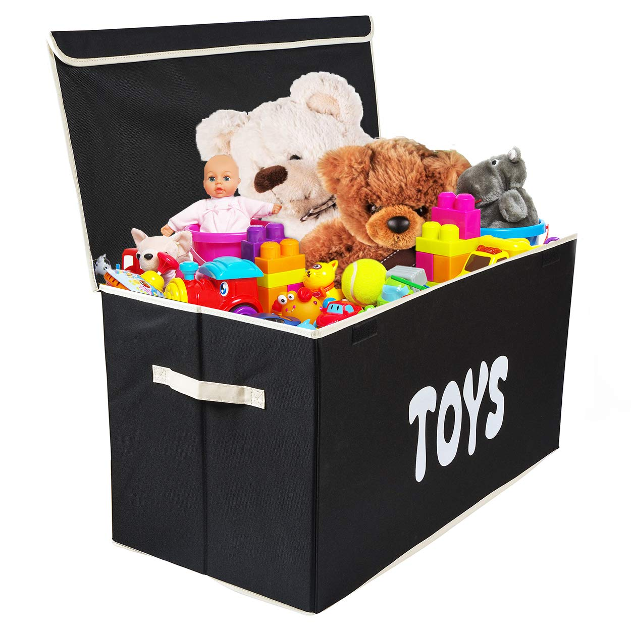 Woffit Toy Storage Organizer Chest for Kids & Living Room, Nursery, Playroom, Closet etc. - Extra Large Collapsible Toys Bin with Flip-top lid for Children & Dog Toys, Great Box for Boys and Girls by Woffit