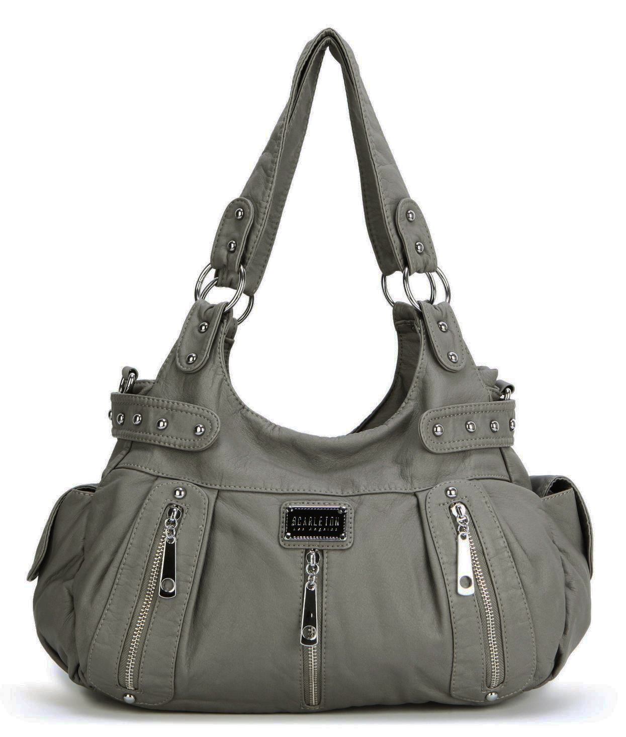 Scarleton 3 Front Zipper Washed Shoulder Bag H129224 - Ash by Scarleton