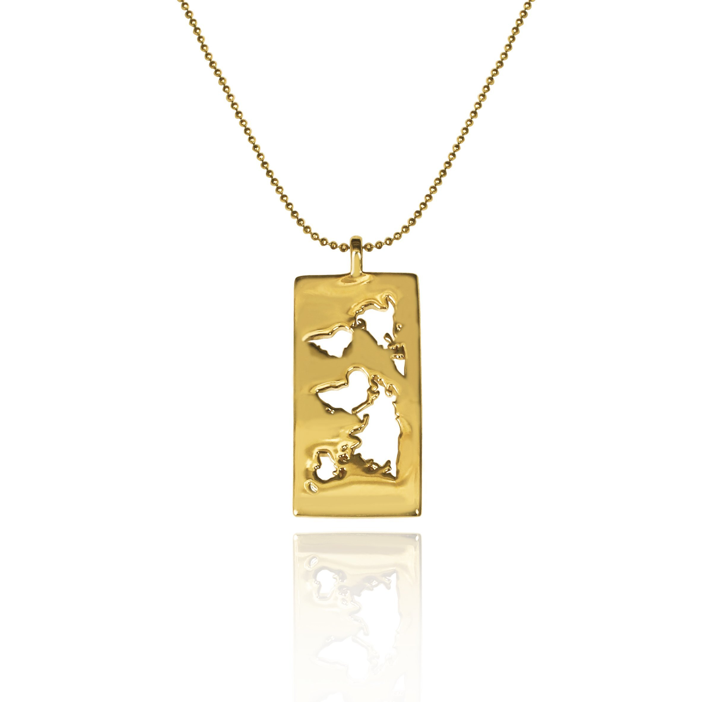 24K Gold Plated World Map Pendant necklace Travel Jewelry