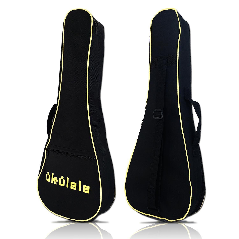 KSEV Music Nylon Padded Gig Bag for 21-inch Soprano Ukulele, Soft Carrying Case Small Uke Guitar, Plush Interior, 6mm Padding, Adjustable Straps, and External Accessory Pocket