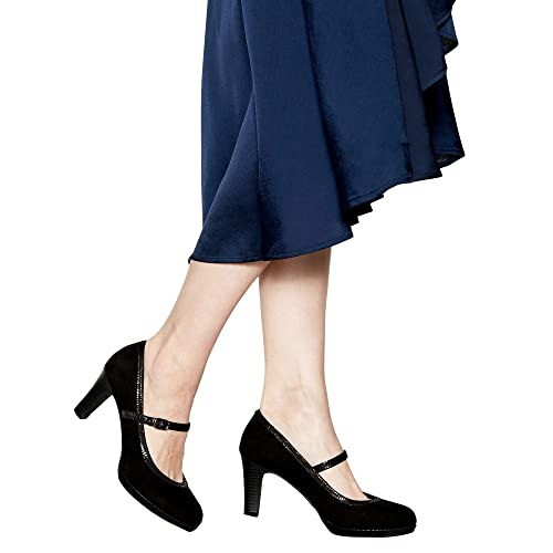 384685559a Good for the Sole Womens Black Suedette 'Gemma' High Heel Wide Fit Mary  Janes