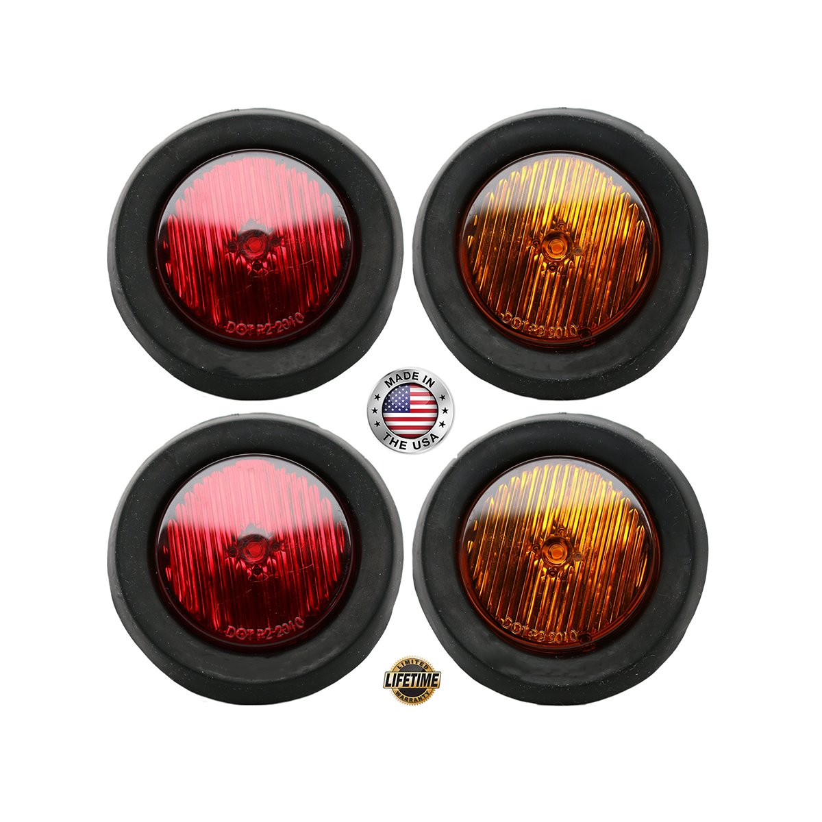 2 Round LED Clearance//Side Markers Grommet Mounted 4 Pack Trucks Trailers RVs Lights Made in USA TecNiq 5559011615