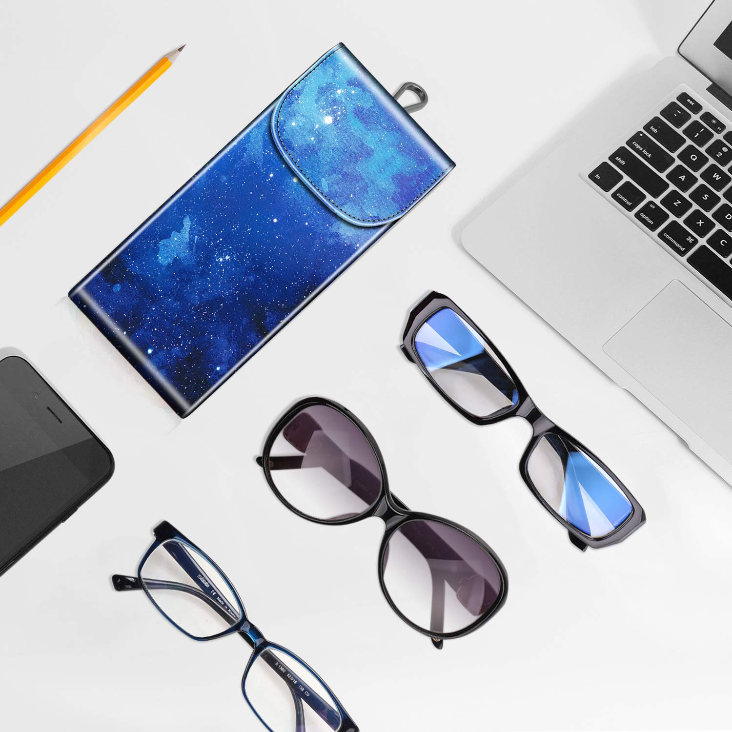 Spectacle Cases for Women Men Fintie Double Glasses Case with Carabiner Hook Cool Jade Portable Vegan Leather Eyeglass Case Anti-scratch Sunglasses Pouch