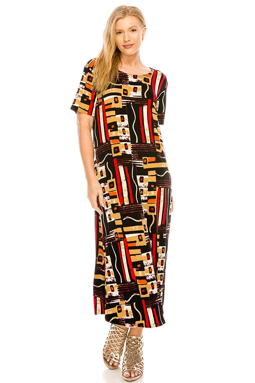 W186 Multi Jostar Women's Stretchy Long Dress Short Sleeve Print