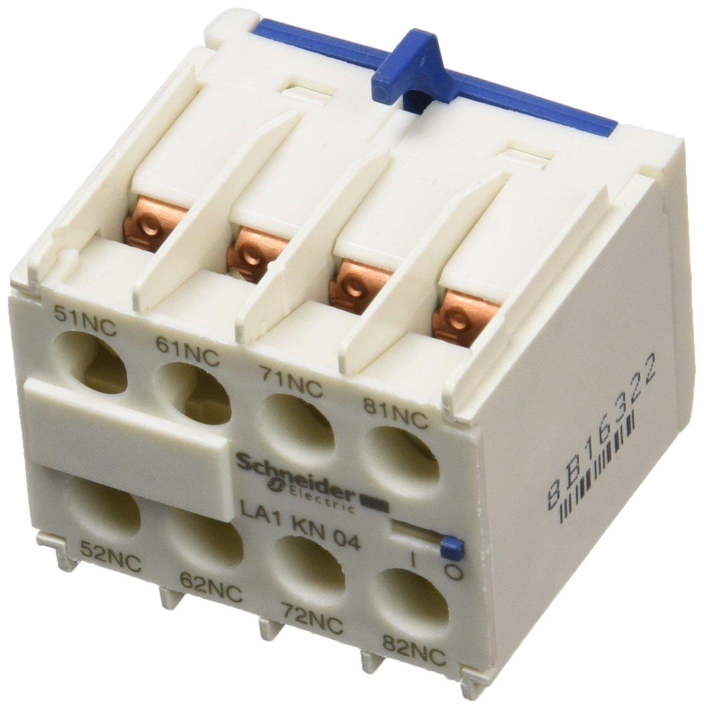 Schneider Electric LA1KN04 bloc de contacts auxiliaires TeSys, 0 F + 4 O, bornes à vis-étriers bornes à vis-étriers