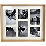 Natural Wooden Box Style 6 x Aperture Multi Photo Montage Collage Hanging Picture Frame With Mount