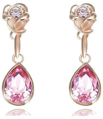 b3ad58951743 fappac Flower Dangle Pendientes enriquecido con cristales de Swarovski - 18  K bañado en oro rosa - rosa  Amazon.es  Joyería