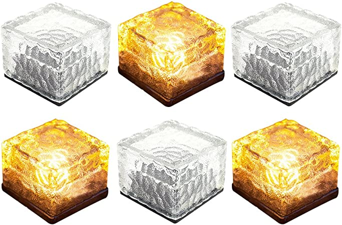 New Outdoor White Garden Led Solar Powered Ice Glass Cube Brick Lights Lanterns