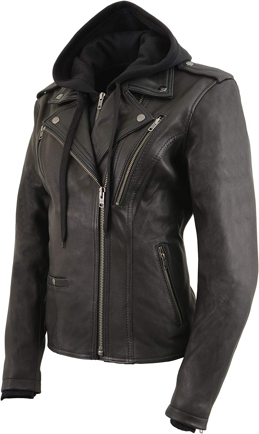 3X-Large Milwaukee Leather MLL2575 Women/'s Black Vented MC Jacket with Removable Hoodie