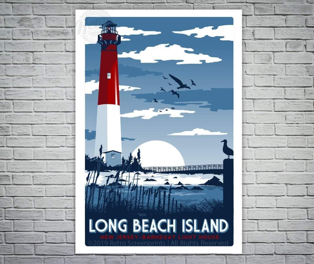 Metal Tin Sign,Long Beach Island New Jersey Barnegat Lighthouse Retro Vintage beachAluminum Sign Wall Art Decor Metal Sign,Public Sign,Decoration Sign 18x12 Inches