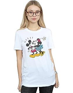 b70aee2f Disney Women's Mickey Mouse Mickey and Minnie Kiss Boyfriend Fit T-Shirt