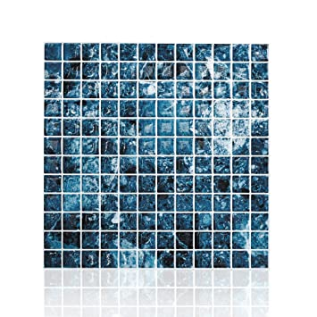Amazon.com: Cocotik Peel and Stick Tile Blue 3D Kitchen Backsplash ...
