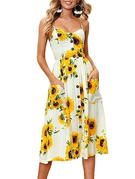 Kfnire vestido midi, botines de correa de espagueti bohemio florales de verano de las mujeres abajo vestidos de oscilación con bolsillo: Amazon.es: Ropa y ...