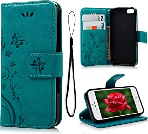 MOLLYCOOCLE iPhone 6 Case, iPhone 6S Wallet Case (Not for Plus), Blue Butterfly Flower PU Leather Wallet Purse Credit Card Holders Magnetic Flip Folio TPU Soft Bumper Ultra Slim Cover for iPhone 6/6S