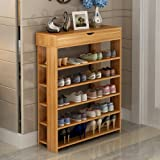 Soges Shoe Racks with Top Drawer Solid Wood Shoe Storage Shelf Organizer 5 Tiers Black L24-TK-CA
