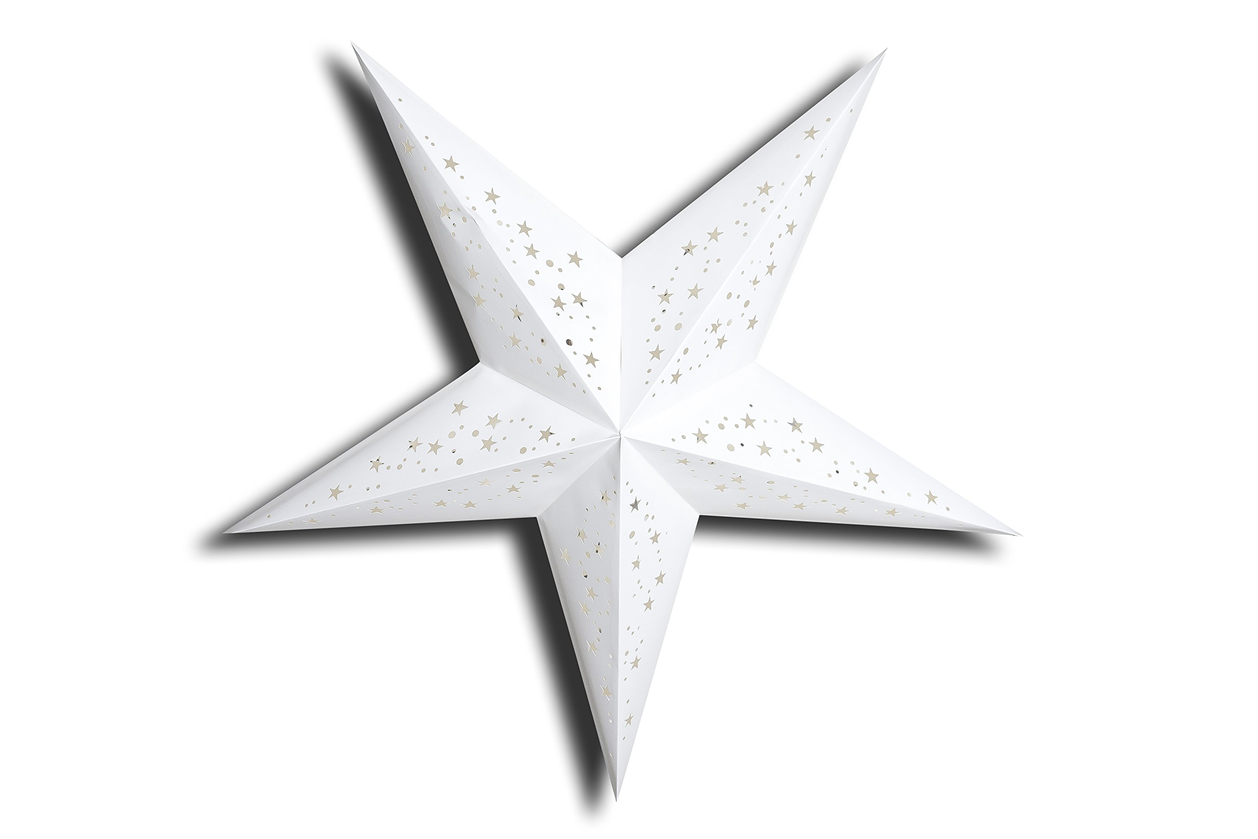 Naxatra - 5 Tips - Paper Lantern Star - Homemade - GalaxyArts (White, Medium) by GalaxyArts (Image #1)