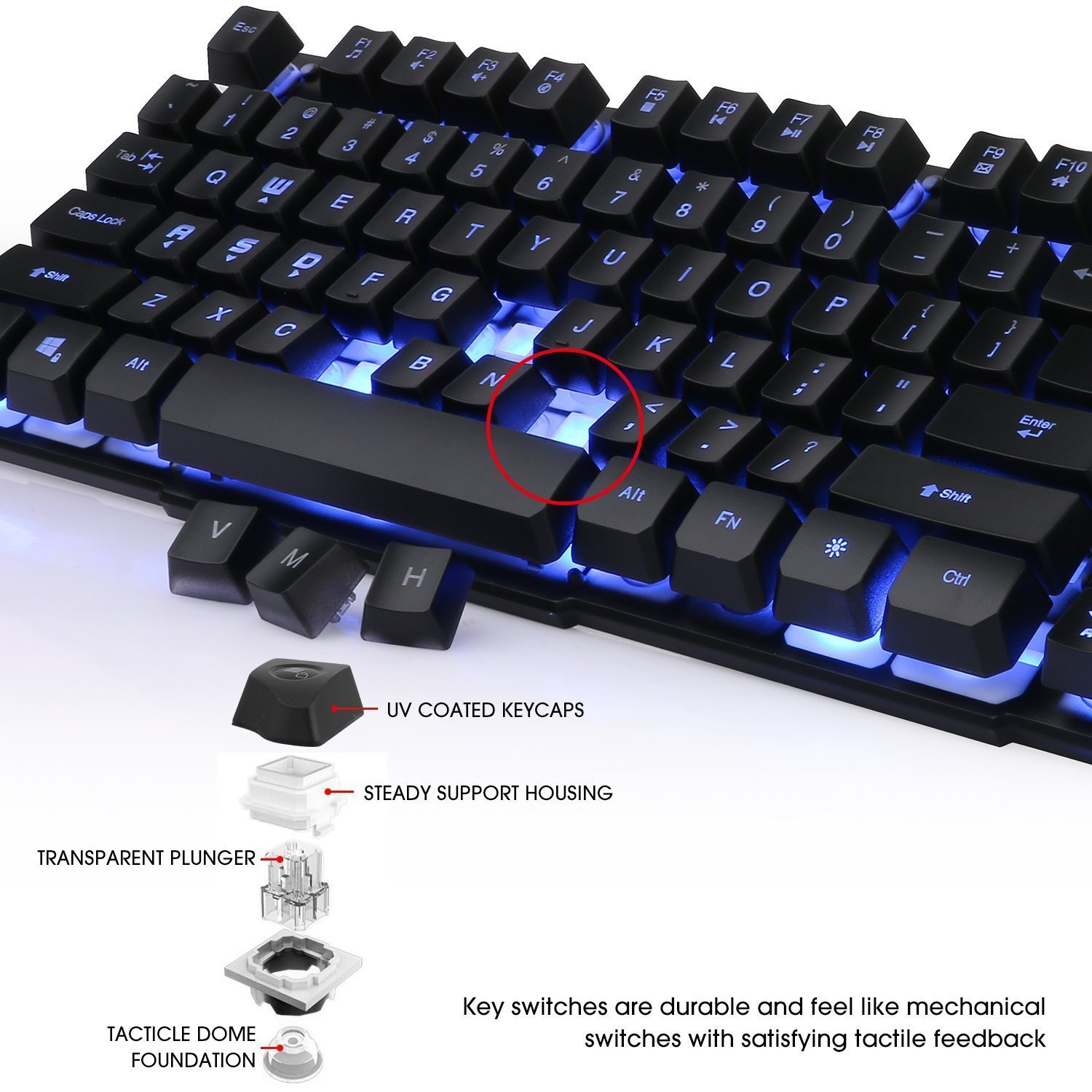 Keyboard, BeeMoon Wired Gaming Keyboard with Three Colors Backlit Supporting Windows 10/ 8 / 7 / Vista / XP, Mac, Linux by Beemoon (Image #6)